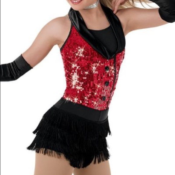 6ed036177f2ba balera Costumes | Girls Jazz Dance Red And Black Sequin Costume ...